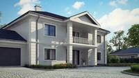 Проект особняка з просторим балконом і світлим фасадом