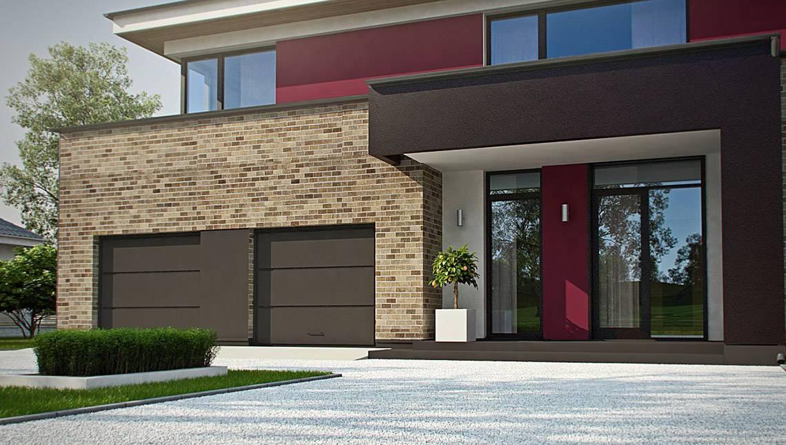 Проект двоповерхового сучасного будинку з великим гаражем та сауною