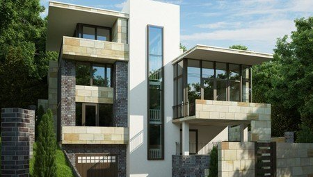 Проект сучасного будинку з підвалом для будівництва на схилі