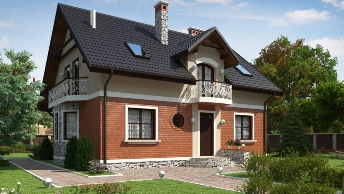 Проект класичного будинку з мансардою і красивими балконами