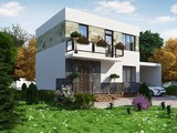 Проект красивого класичного будинку з гаражем і мансардою