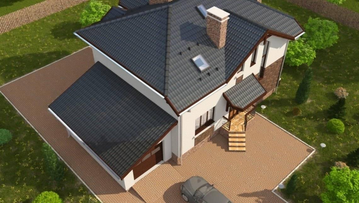 Проект цікавого заміського котеджу з чотирьохспадовою покрівлею