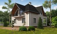 Одноповерховий котедж з мансардою і красивим балконом