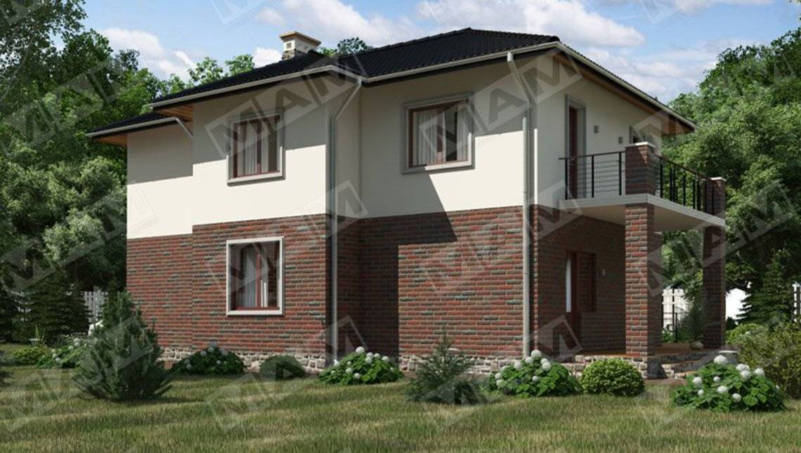 Стильний двоповерховий котедж з цегляним фасадом