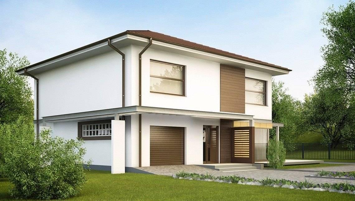 Простий проект двоповерхового будинку з вбудованим гаражем