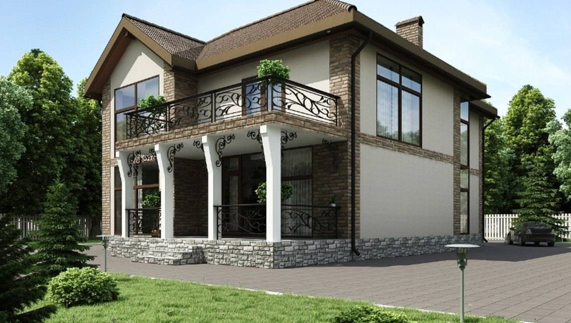 Вишуканий двоповерховий особняк з великим балконом