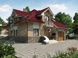 Класичний стильний заміський будинок з мансардою та гаражем