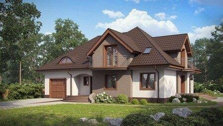 Проект класичного великого будинку з гаражем і балконами