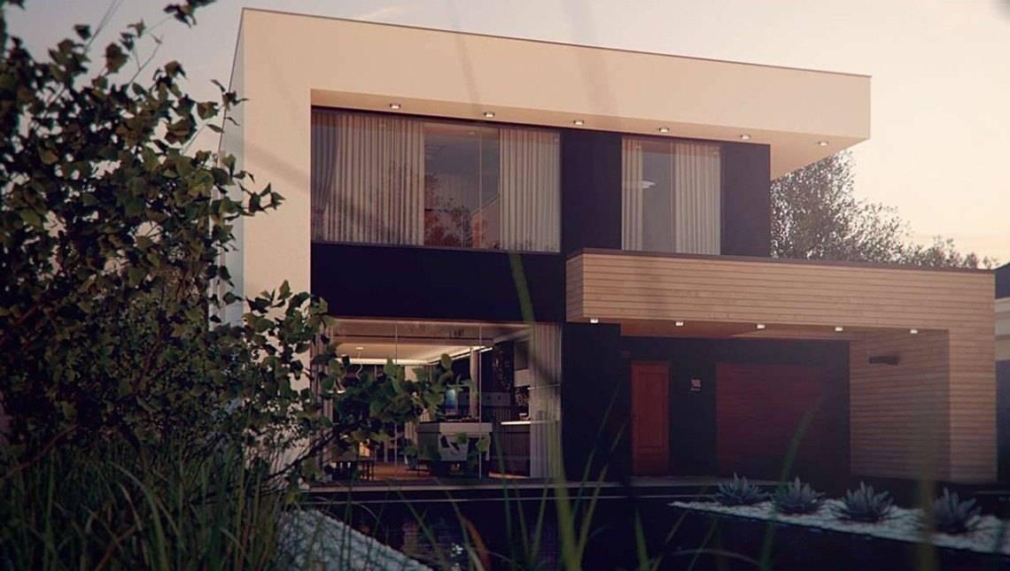 Проект сучасного двоповерхового будинку хай тек з гаражем і односпадним дахом