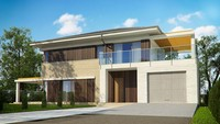 Проект стильного 2х поверхового будинку з гаражем і терасою на другому поверсі