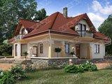 Оригінальний будинок з мансардою і красивою терасою