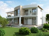 Сучасний стильний котедж хай-тек з великою терасою