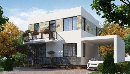 Невеликий сучасний двоповерховий будинок із плоским дахом