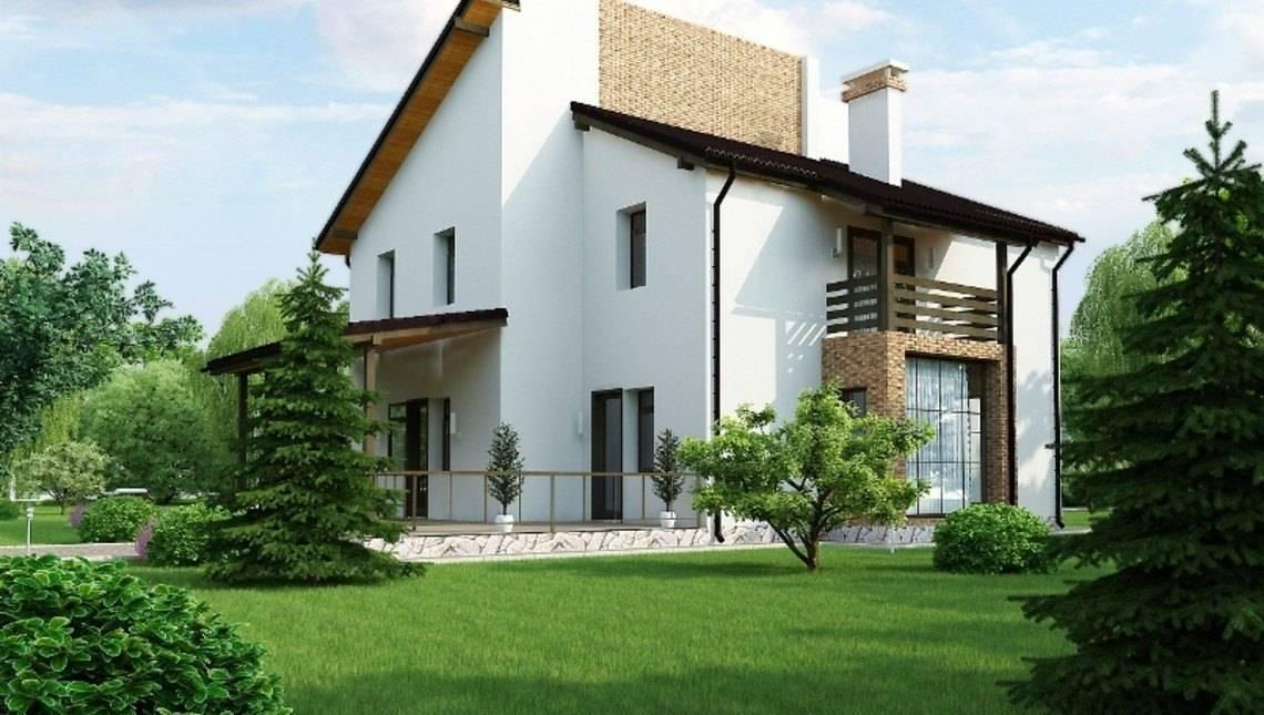 Світлий двоповерховий будинок з незвичайною покрівлею