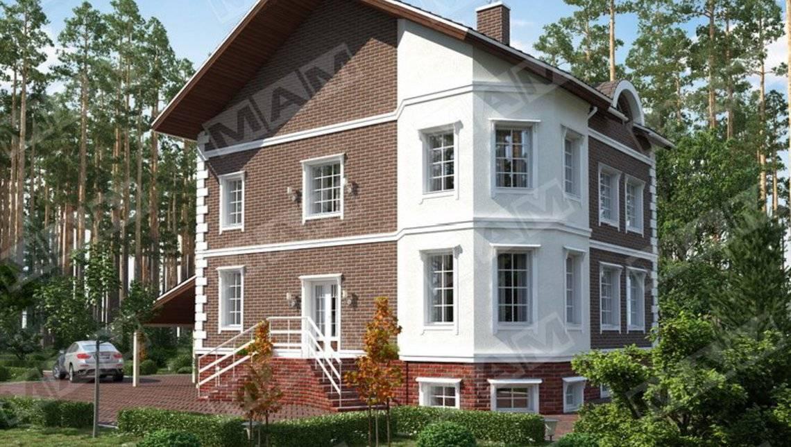 Проект сучасного триповерхового будинку з підвалом
