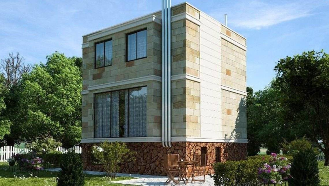 Проект оригінального сучасного котеджу з навісом в цоколі