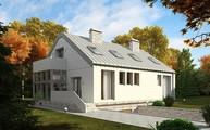 Проект будинку з великою площею скління і гаражем в цоколі