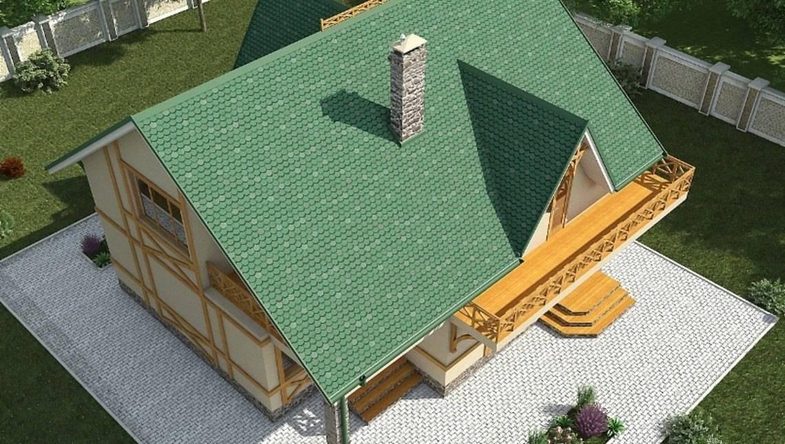 Проект будинку з мансардою і великими балконами