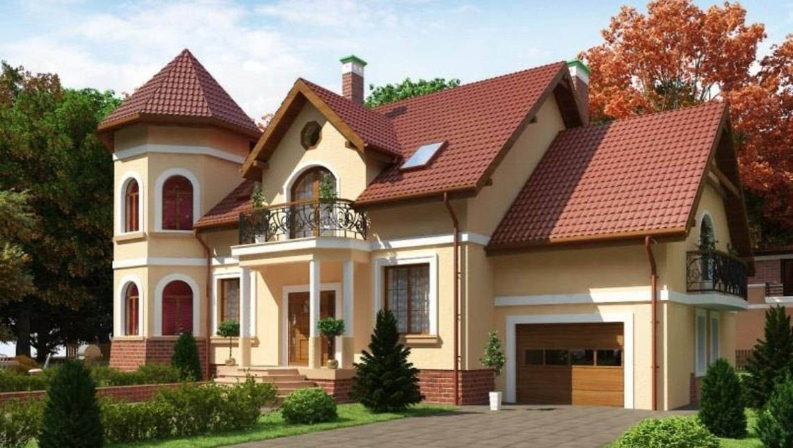 Проект особняка з круглою вежею і декорованим балконом