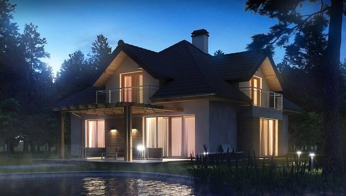 Проект будинку з красивими вікнами і гаражем для 2 машин