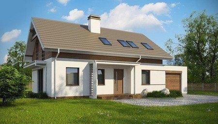 Проект будинку з мансардою по типу 4M258 з гаражем на одну машину
