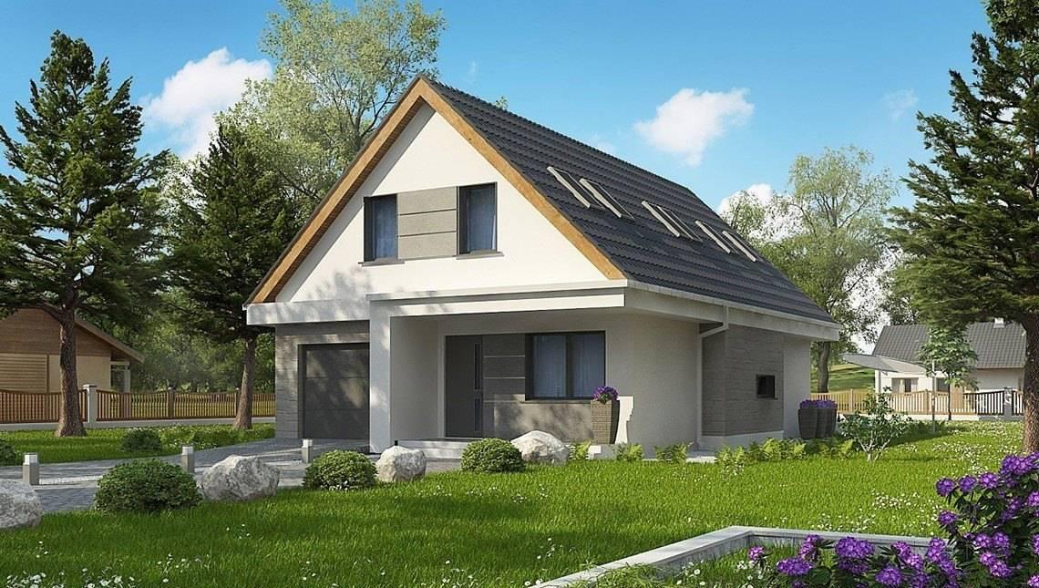 Сучасний проект будинку з мансардою для вузької ділянки