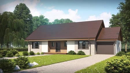 Проект будинку з мансардою та гаражем на 140 m²