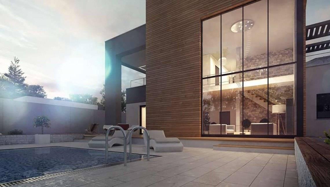 Елегантний сучасний двоповерховий будинок з великою площею скління