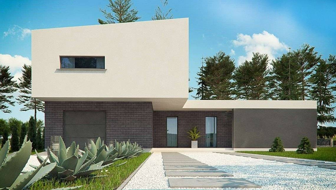 Сучасний будинок хайтек з оригінальною терасою Т-подібної форми