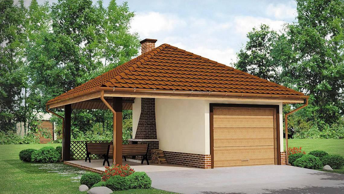 Проект гаража на 1 машину із зоною для барбекю