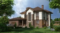 Комфортний двоповерховий будинок з фактурним фасадом
