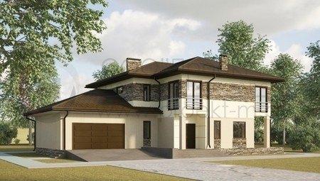 Проект котеджу з кам'яним фасадом і гаражем
