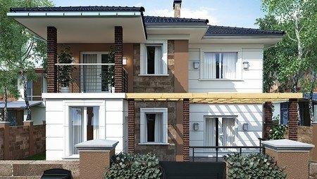 Проект котеджу з терасою і балконом площею 200 m²