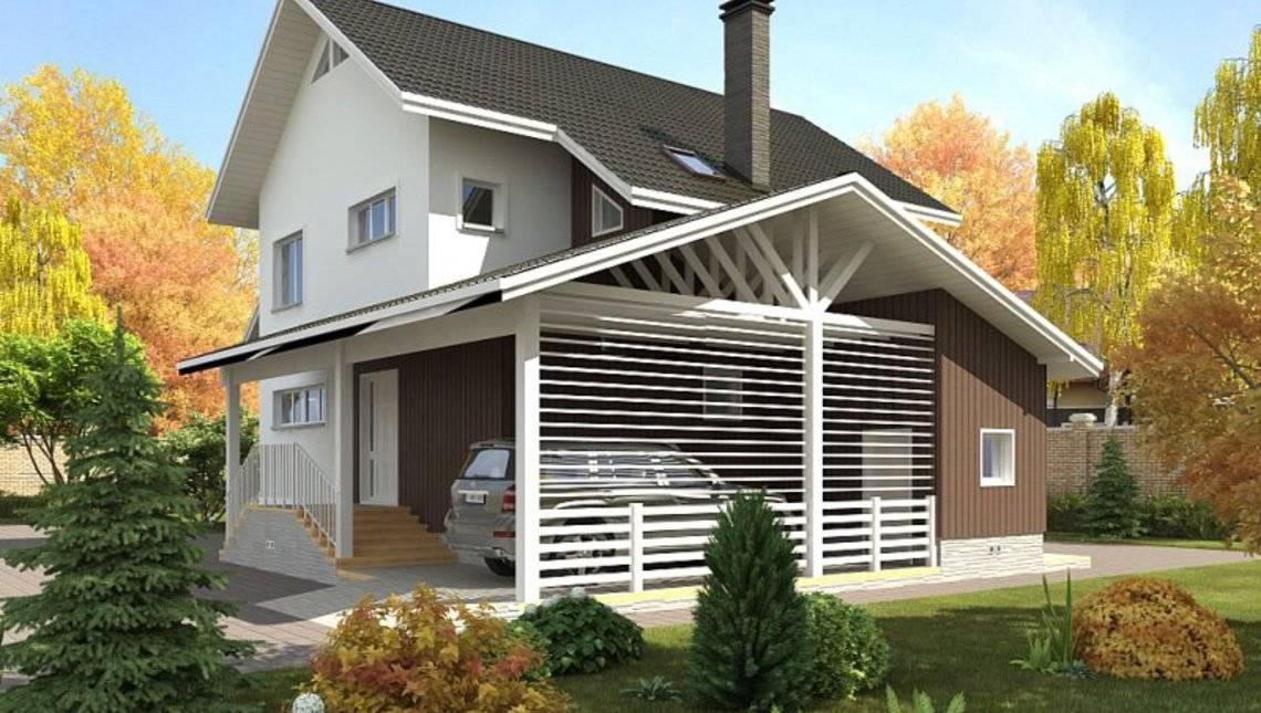 Архітектурний проект котеджу з навісом для авто, сауною і терасою