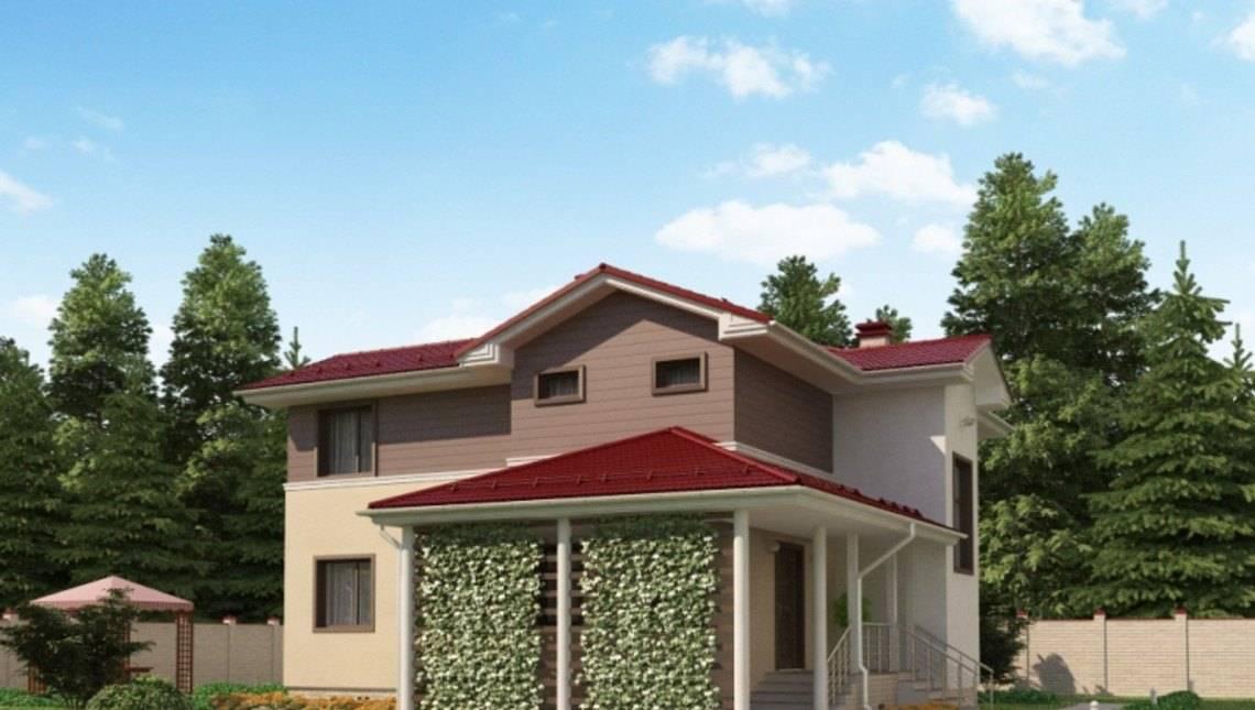 Проект житлового будинку з терасою і навісом для автомобіля