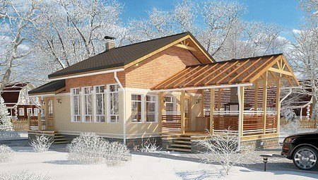 Архітектурний проект лазні з терасою і антресоллю