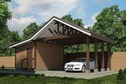 Проект гаража з навісом і господарчим приміщенням