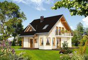 Чудовий заміський котедж зі стильним балконом та терасою