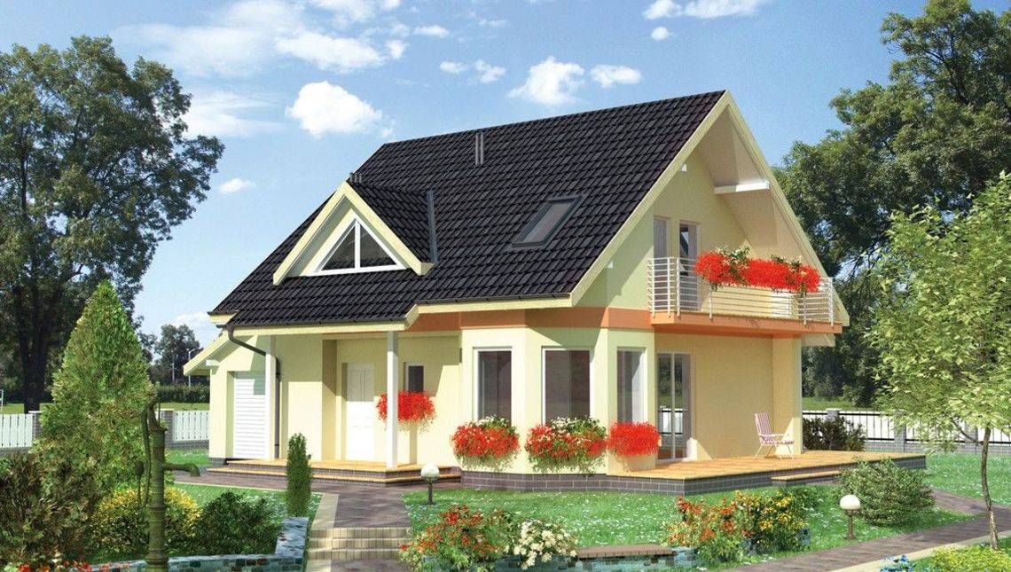 Невеликий котедж з двосхилим дахом