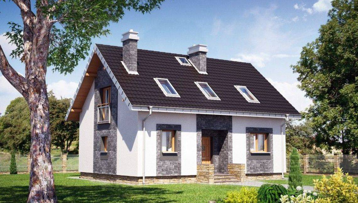 Архітектурний проект котеджу з площею 120 m²