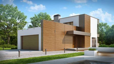 Проект двоповерхового котеджу модерн з великою терасою над гаражем