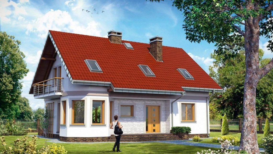 Проект будинку з мансардою з кутовим еркером