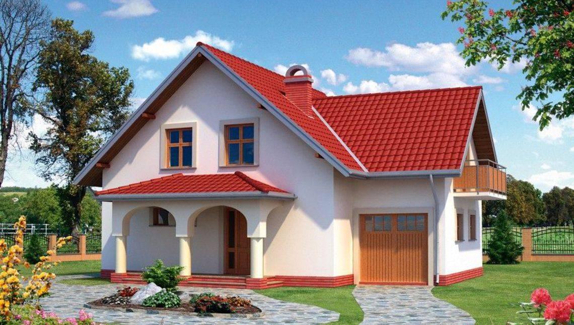 Проект цікавого котеджу з терасою та мансардним поверхом