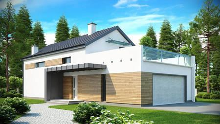 Проект сучасного котеджу з гаражем і терасою
