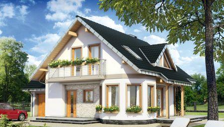Стильний заміський котедж з невеликою терасою та балконом