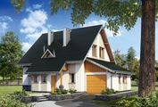 Цікавий заміський будинок з високим дахом