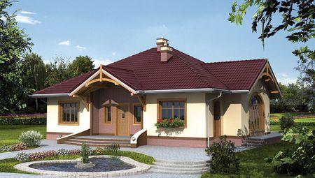 1 поверховий будинок з многоскатной дахом