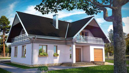 Пригожий житловий будинок з трьома балконами