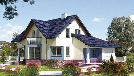 Гарний будинок з виступаючим ганком