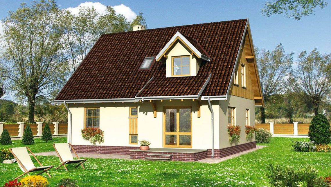 План компактного заміського будинку з цокольним поверхом